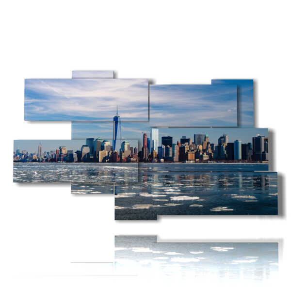 New York quadro arrivando dal mare