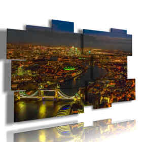 painting of lights with photo of London evening