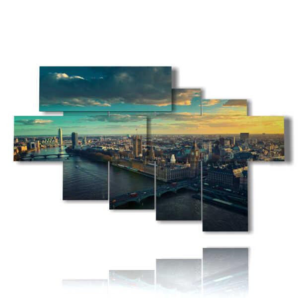quadro con foto su londra al tramonto
