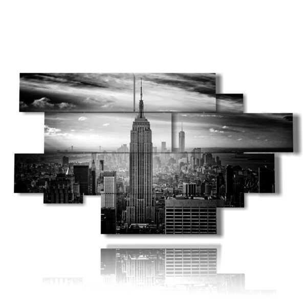 quadri New York bianco e nero ombroso