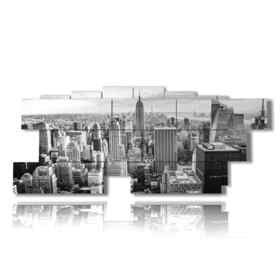New York black and white picture overview