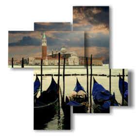 Tableaux modernes avec Venise après un orage