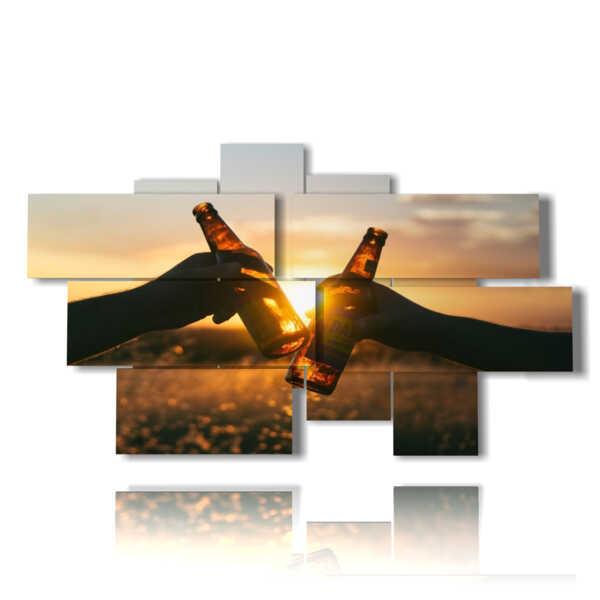 quadri birra al tramonto