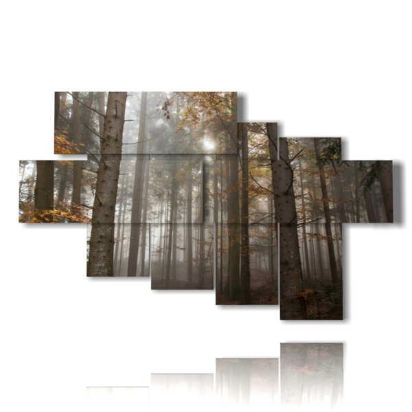 quadri alberi inverno nella foresta spoglia