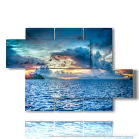 quadro mare e cielo in un tramonto d'estate
