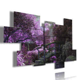 floral modern paintings in a purple world