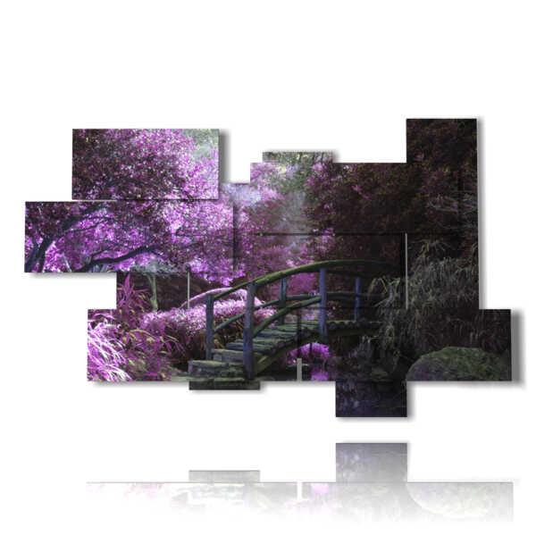 cuadros modernos florales en un mundo de color púrpura