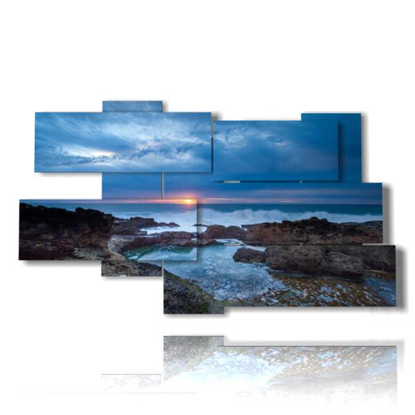 tableaux avec la mer au coucher du soleil sur une nuit d'été