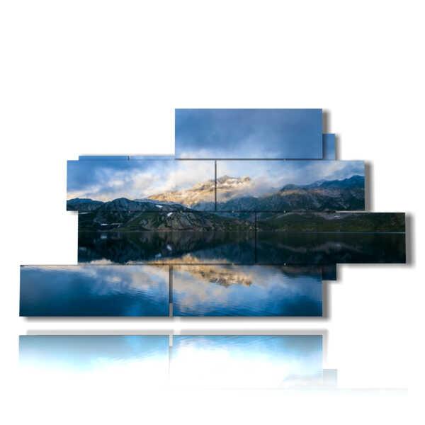 cuadros de montañas y el lago