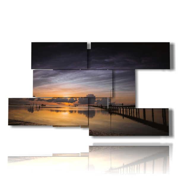 cuadros puesta del sol con el mar y el muelle