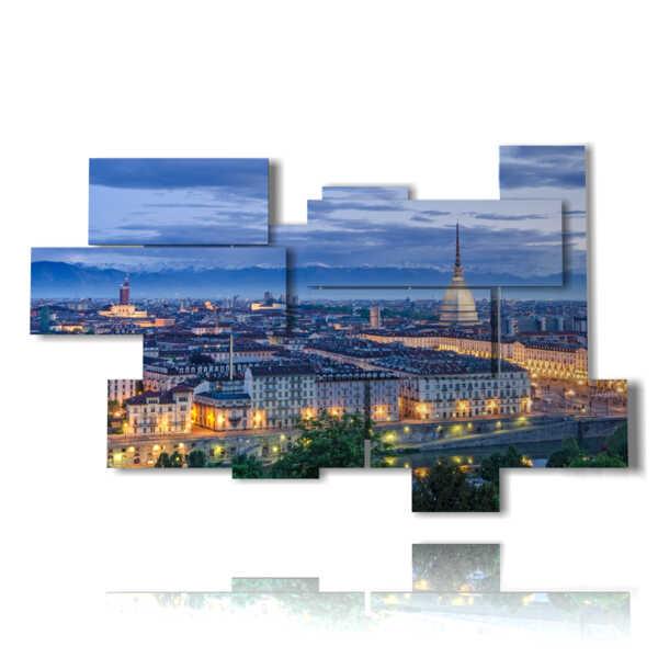 quadri città di torino panoramica di sera