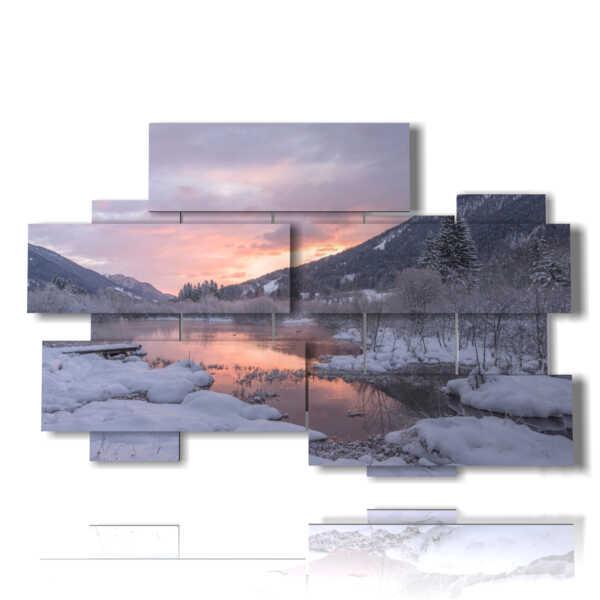 cuadros de paisajes de invierno al atardecer