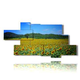 quadri girasoli astratti in una distesa di campo