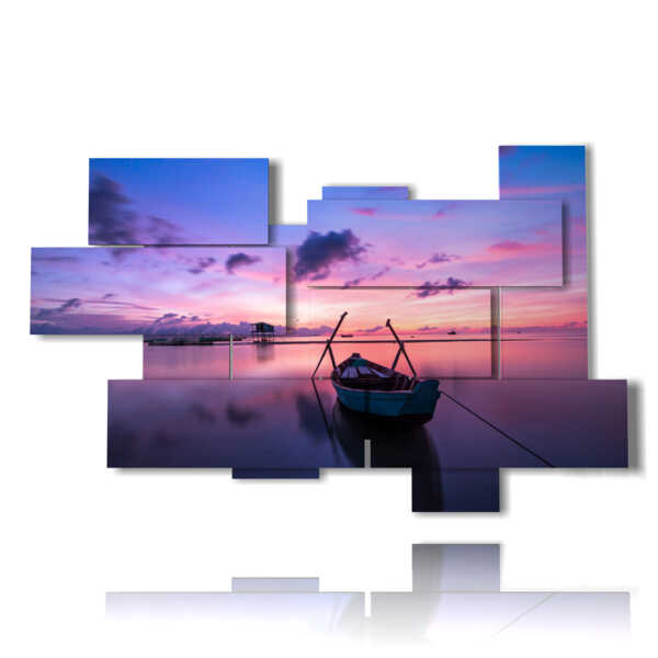 paintings sea and boats in a sunset dream