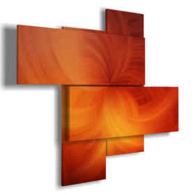 painting with modern abstract paintings in a veiled orange