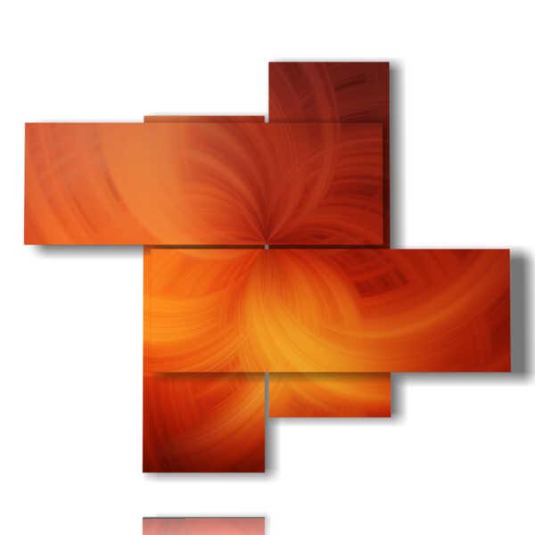 tableaux avec des tableaux abstraites modernes dans orange voilée