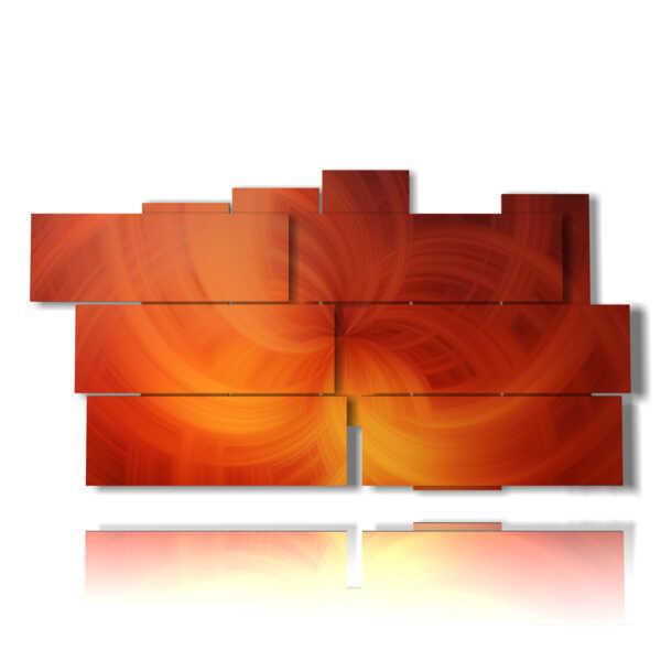quadro con dipinti astratti moderni in una velata arancio 3D