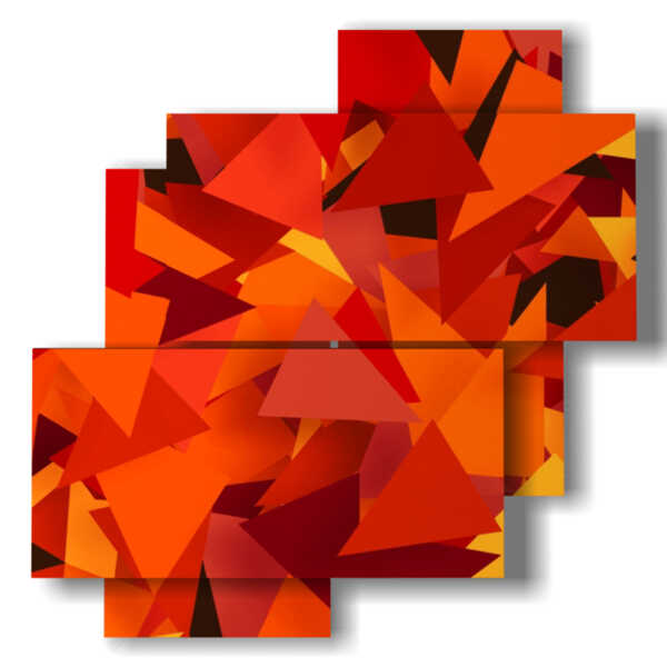 paintings with red triangular geometric designs