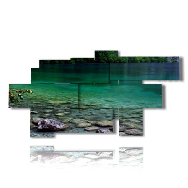 lago moderno en el cuadro de profundidad