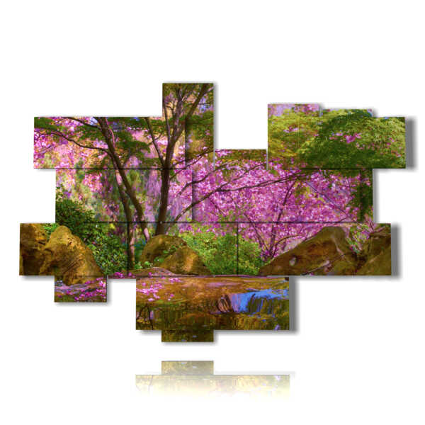 modern paintings with cherry blossoms