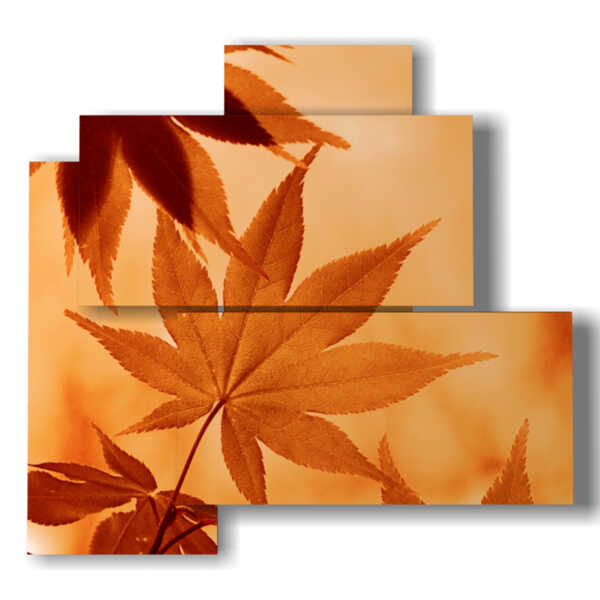 cuadros flores abstractas con las hojas de otoño