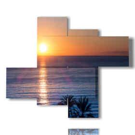 tableaux de couchers de soleil sur une soirée d'été