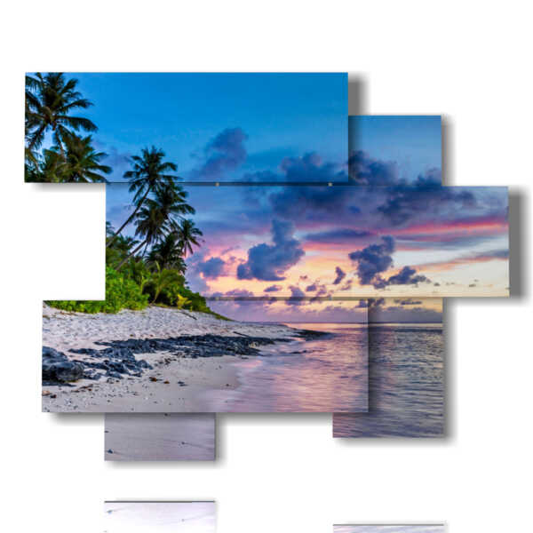 quadri con mare e cielo sulla spiaggia con palme