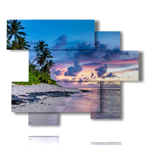 tableaux avec la mer et le ciel sur la plage avec des palmiers