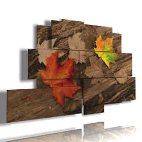 paintings on wood in autumn with leaves