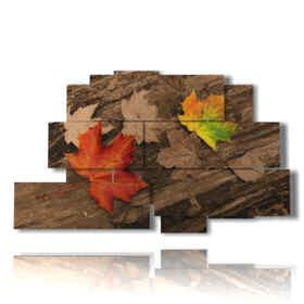 cuadros sobre madera en otoño con las hojas