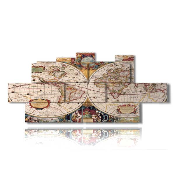 quadri cartina geografica colorata