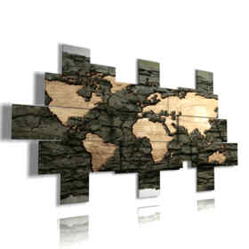 quadri mappamondo moderno nel legno