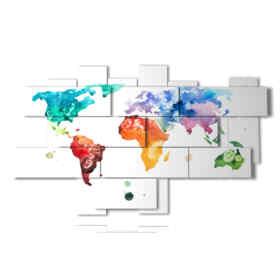 quadri cartina mondo a colori