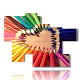 quadri astratti fatti di matite colorate