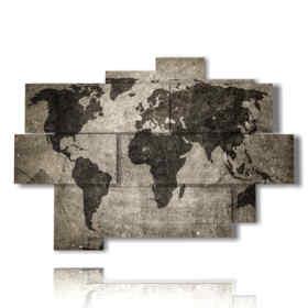 quadri componibili mappamondo bianco e nero
