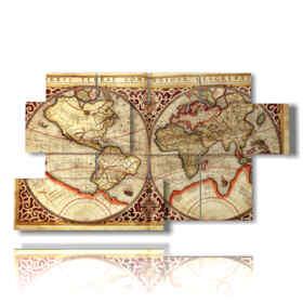 quadro mondo astratto con cartina