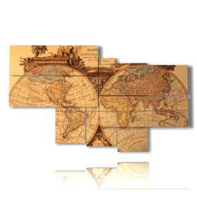 quadri mappamondo vintage in 3d