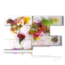 quadro con foto mappamondo geografico