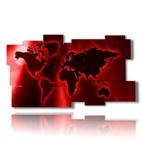 tableaux carte du monde rouge