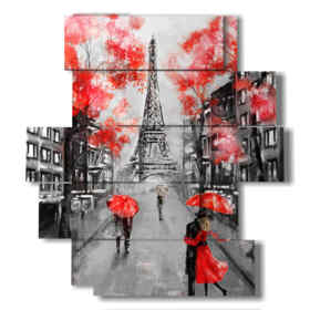 plaza de París en la lluvia de besos