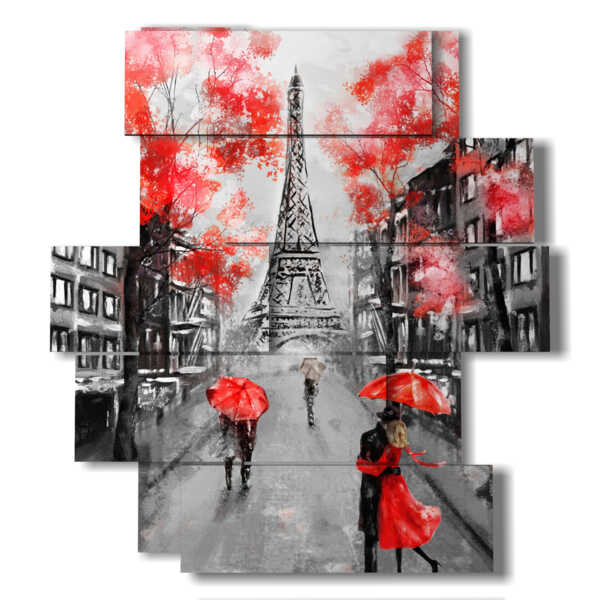 Paris square in the rain with kisses
