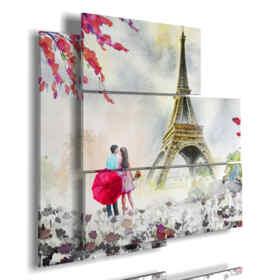 Cuadro pintado París bajo la lluvia romántica