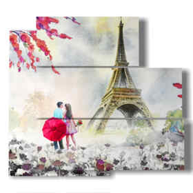quadro dipinto parigi sotto la pioggia romantica
