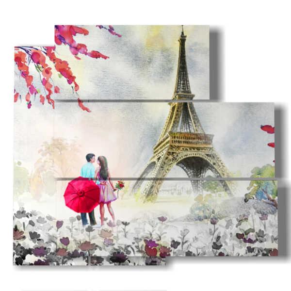 image peinte Paris sous la pluie romantique