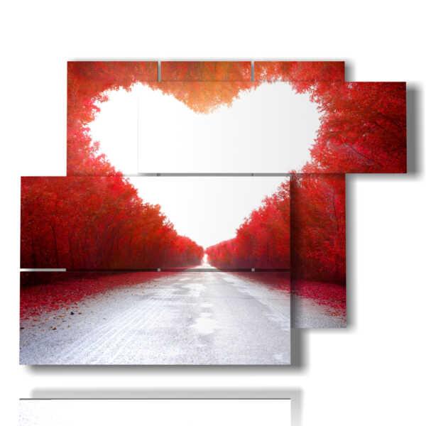 quadri a forma di cuore di alberi rossi