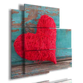 frame with red fabric heart