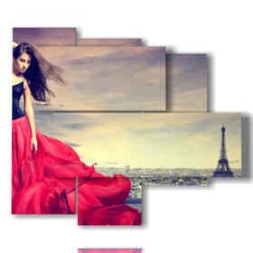 parte de París con los grandes cuadros mujer de rojo