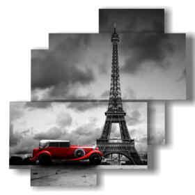 picture with photos Paris Eiffel tour and vintage car