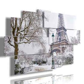 quadro con foto di Parigi con la neve in bianco e nero