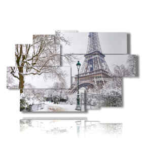 picture with photos of Paris with snow in black and white